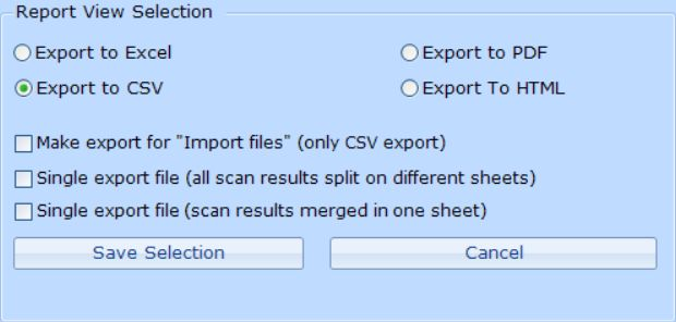 Export options from Scan Documents tab in ReplaceMagic