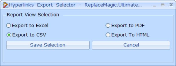 Export options in ReplaceMagic